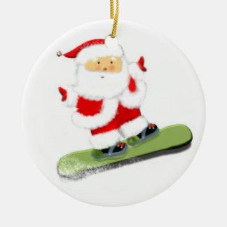 De Kerstman van Snowboarding Rond Keramisch Ornament