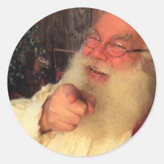 De kerstman wil u ronde sticker