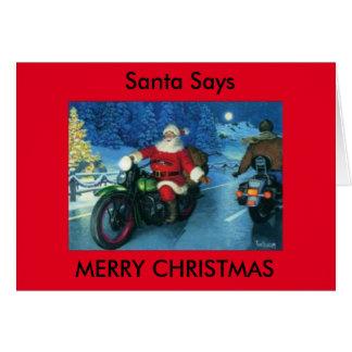 De kerstman zegt Vrolijke de motorfietskaart van Kaart