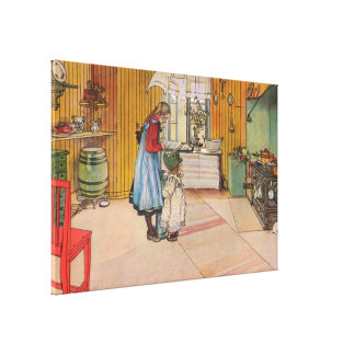 De keuken door Carl Larsson Vintage Zweden 1898 Canvas Afdrukken