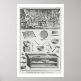 De keuken en het materiaal van een bakker, van 'En Poster