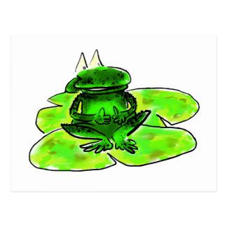 De kikker van de cartoon op een leliestootkussen briefkaart