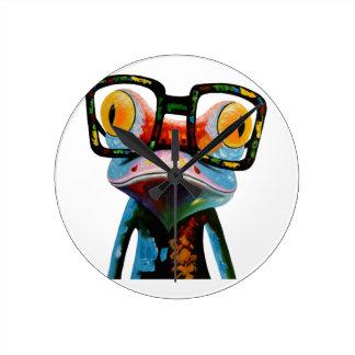 De Kikker van de Glazen van Hipster Ronde Klok