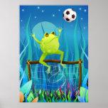 De Kikker van het voetbal bij nacht Poster