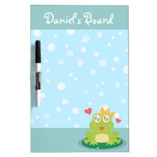 De kikker van Kawaii met fonkelende ogen op een le Whiteboards