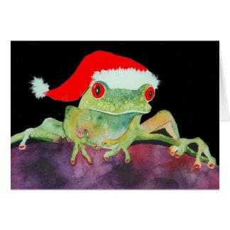 De kikkerKerstkaart van de kerstman Wenskaart