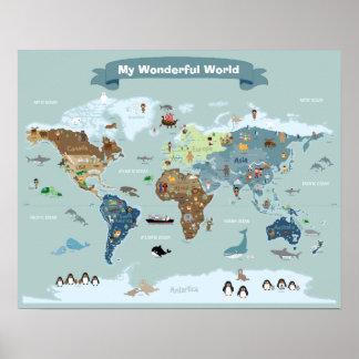 De kinder Kaart van de Wereld met Afbeeldingen en Poster
