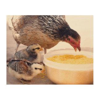 De Kip van de moeder en de Kippen van het Baby Hout Afdruk