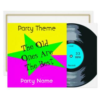 De klantgerichte VinylUitnodiging van de Partij Kaart
