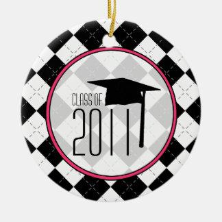De Klasse van afstuderen van 2011 Zwarte Argyle Rond Keramisch Ornament