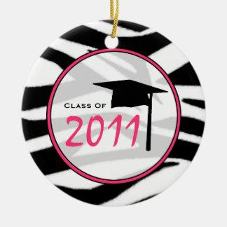 De Klasse van afstuderen van Druk & het Roze van Rond Keramisch Ornament