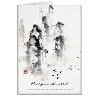 De klassieke oosterse Chinese sumi-e scène van de Kaart