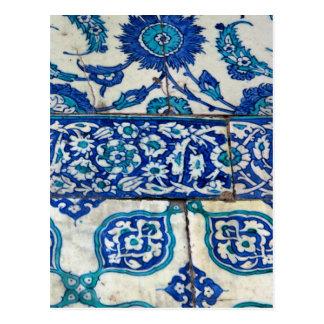 De klassieke patronen van de Vintage iznik blauwe Briefkaart