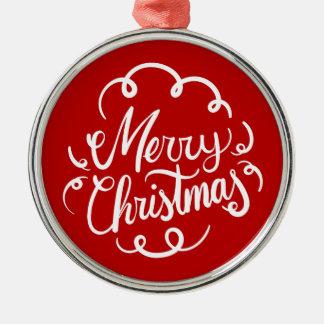 De klassieke Typografie van Kerstmis van het Art Zilverkleurig Rond Ornament
