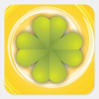 De Klaver van vier Blad Vierkante Stickers