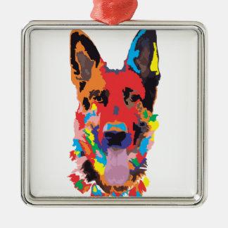 De kleur van de Duitse herder Zilverkleurig Vierkant Ornament