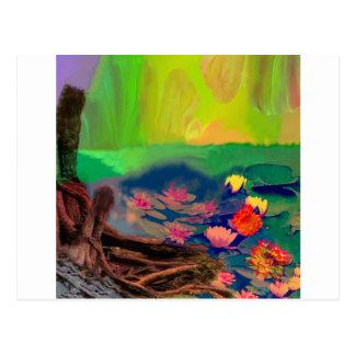 De kleuren vallen de hemel, de leliesdekking de briefkaart
