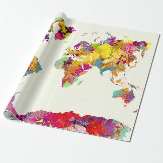 de kleuren van de wereldkaart inpakpapier