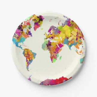 de kleuren van de wereldkaart papieren bordje