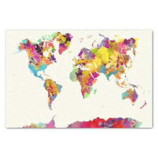 de kleuren van de wereldkaart tissuepapier