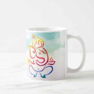 De kleurenillustratie van de waterverf Ganesha en Koffiemok