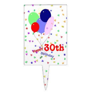 De kleurrijke 30ste Ballons van de Verjaardag Cake Toppers