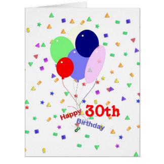 De kleurrijke 30ste Ballons van de Verjaardag Extra Grote Wenskaart