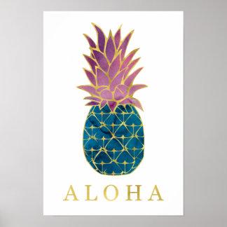 De kleurrijke Ananas van de Waterverf en Gouden Poster
