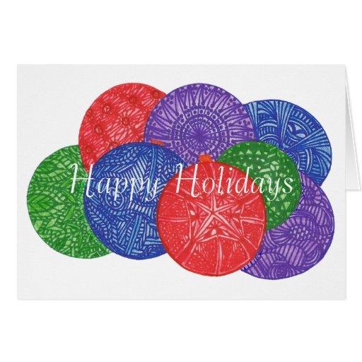 De kleurrijke ballen van Kerstmis, zentangle wensk Wenskaarten
