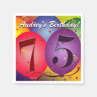 De kleurrijke Ballons van de Verjaardag voor 75ste Wegwerp Servet