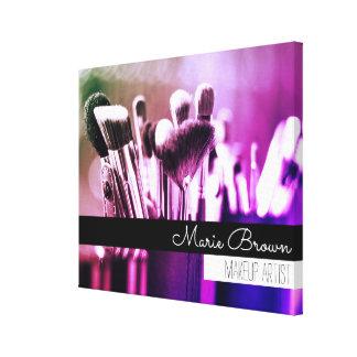 De kleurrijke Borstels van de Make-up met de Naam Canvas Afdrukken