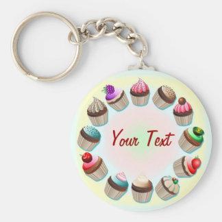 De Kleurrijke Cirkel Keychain van Cupcakes Basic Ronde Button Sleutelhanger