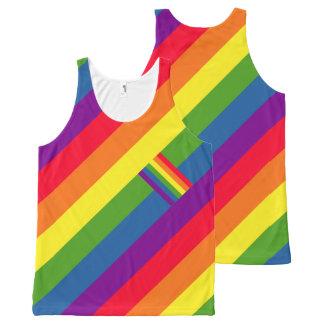 De kleurrijke Diagonale Vrolijke Trots van de Vlag All-Over-Print Tank Top