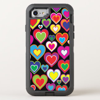 De kleurrijke Dynamische Harten van de Regenboog OtterBox Defender iPhone 7 Hoesje