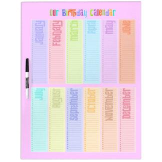 De kleurrijke Eeuwige Kalender van de Verjaardag Whiteboard