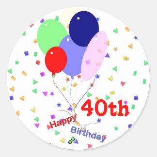De kleurrijke Gelukkige 40ste Ballons van de Ronde Sticker
