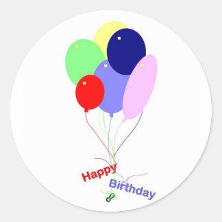 De kleurrijke Gelukkige Ballons van de Verjaardag Ronde Sticker