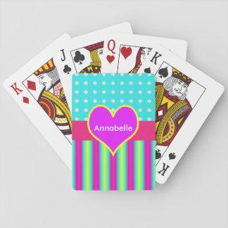 De kleurrijke Gestreepte Stippen van het Hart van Speelkaarten