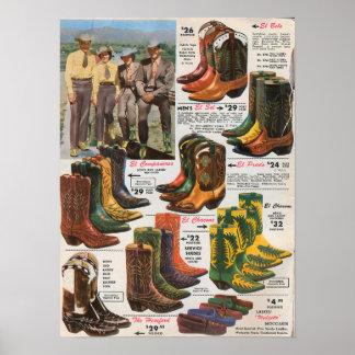 De kleurrijke jaren '50 van de Laarzen van de Poster