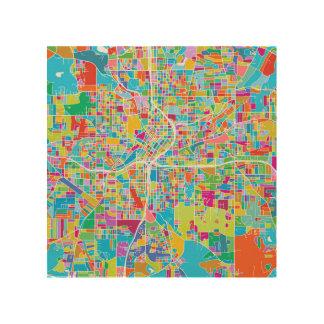 De kleurrijke Kaart van Atlanta Hout Afdruk