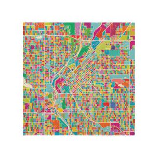 De kleurrijke Kaart van Denver Hout Afdruk