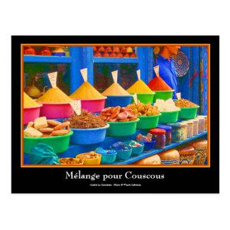 De kleurrijke Markt van het Kruid in Marrakech Briefkaart