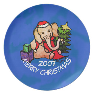 De kleurrijke Olifant van de Cartoon op Blauwe Melamine+bord