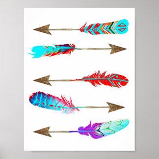 De kleurrijke Pijlen van de Veer van het Neon Poster