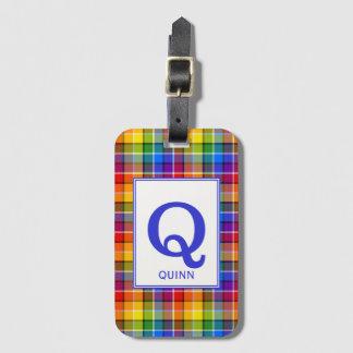 De kleurrijke Plaid van de Regenboog Met monogram Kofferlabels