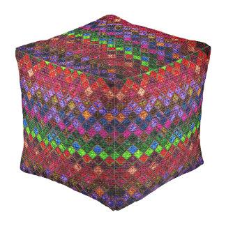 De kleurrijke Plattelander van de Jute van het Vierkante Poef