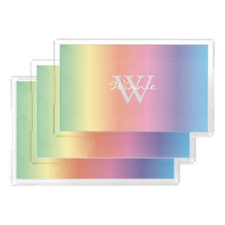 De kleurrijke Regenboog van de Pastelkleur kleurt Acryl Dienblad