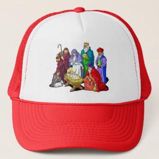 De kleurrijke Scène van de Geboorte van Christus Trucker Pet