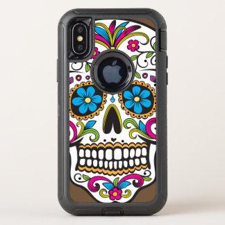 De kleurrijke Schedel van het Snoep OtterBox Defender iPhone X Hoesje