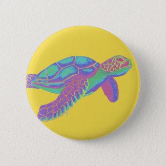 De kleurrijke Schildpad van het Zee met Gele Ronde Button 5,7 Cm